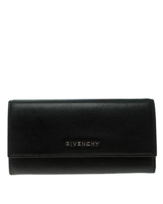 Givenchy - Black Leather Pandora Long Flap Wallet - Lyst