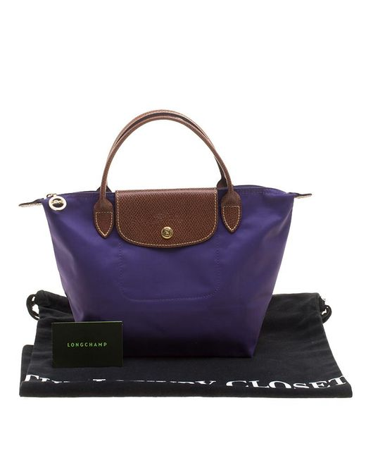 ffe21a67bc ... Longchamp - Purple Nylon Medium Le Pliage Tote - Lyst ...