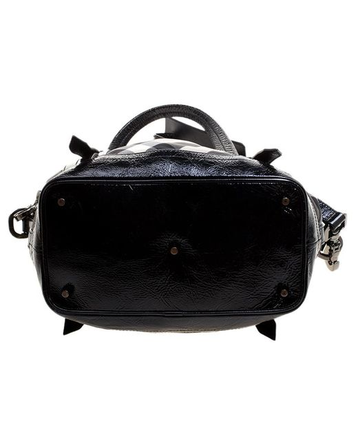 f063a0a75373 ... Burberry - Black Beat Check Nylon And Patent Leather Small Lowry Tote -  Lyst ...