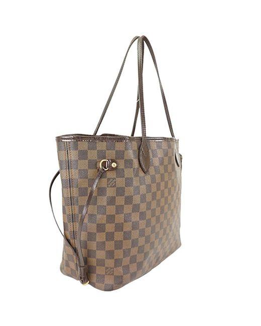 Louis Vuitton Brown Damier Ebene Canvas Neverfull Mm Bag Lyst