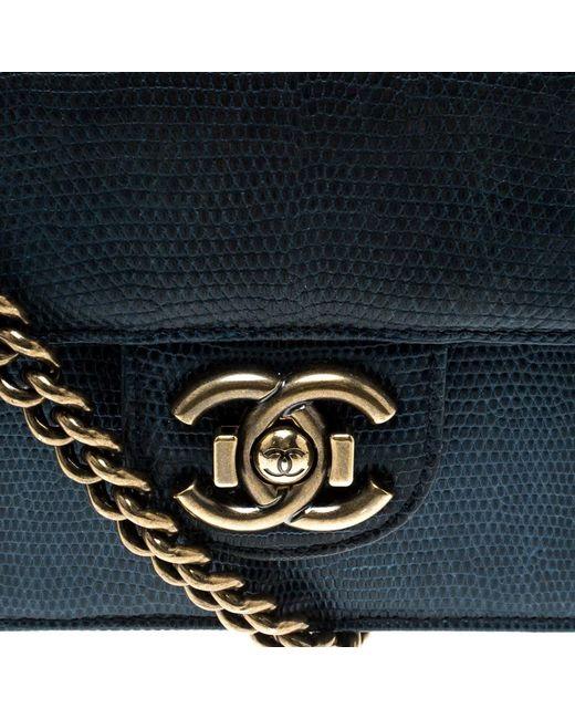 f29dd3e6e6e8 ... Chanel - Blue Lizard Medium Perfect Edge Double Flap Bag - Lyst ...