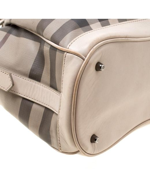 7cadfaf9410c ... Burberry - Natural Smoked Check Pvc And Leather Walden Hobo - Lyst ...