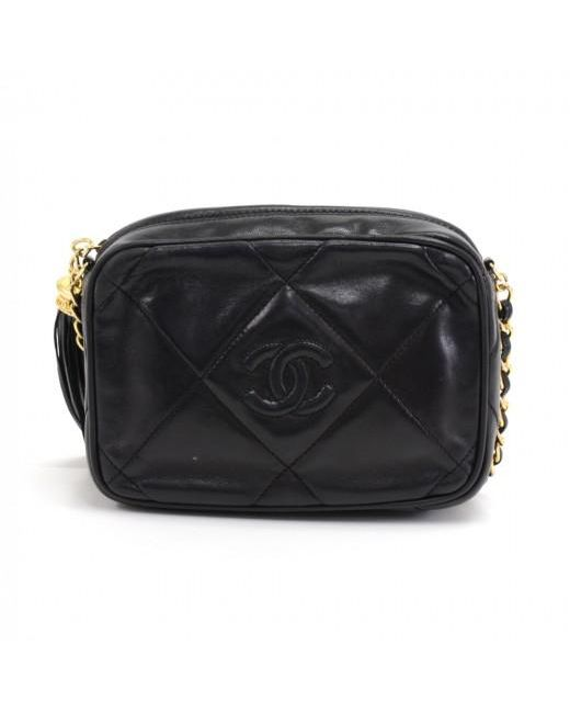 991f3aef9e27 ... Chanel - Black Quilted Leather Vintage Cc Tassel Crossbody Bag - Lyst  ...
