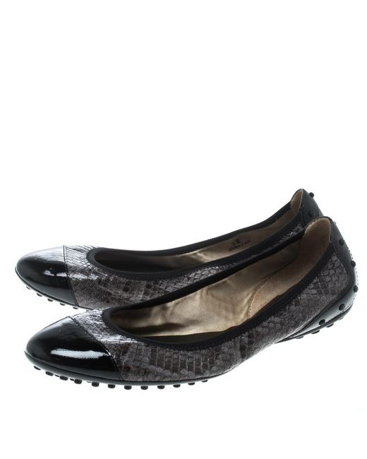 d8966f53e1 ... Lyst Tod's - Gray Two Tone Python Leather Patent Cap Toe Scrunch Ballet  Flats ...