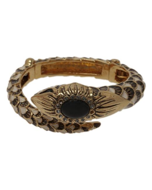 Roberto Cavalli - Black Snake Crystal Bangle Bracelet - Lyst