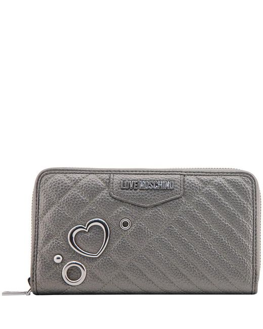 Moschino - Gray Love Grey Quilted Faux Leather Zip Around Wallet - Lyst