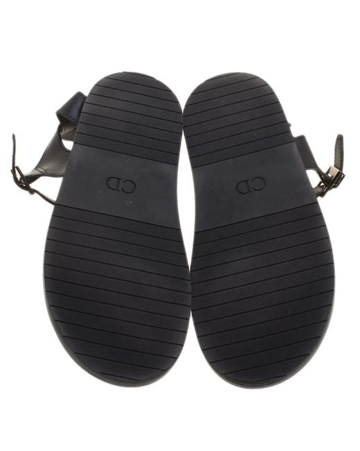 bf14b01a2b759e ... Dior - Black Homme Leather Toe Ring Cross Strap Sandals for Men - Lyst  ...