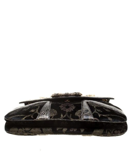 32ee03fd72e0a7 ... Gucci - Black Printed Velvet And Alligator Trim Limited Edition Tom  Ford Dragon Shoulder Bag ...