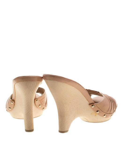c550a721f6d0 ... Ferragamo - Blush Pink Pleated Leather Peep Toe Slides Size 38.5 - Lyst  ...