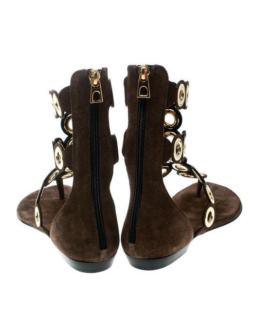 98eacc221 ... Barbara Bui - Brown Suede Eyelet Detail Flat Thong Sandals Size 37 -  Lyst ...