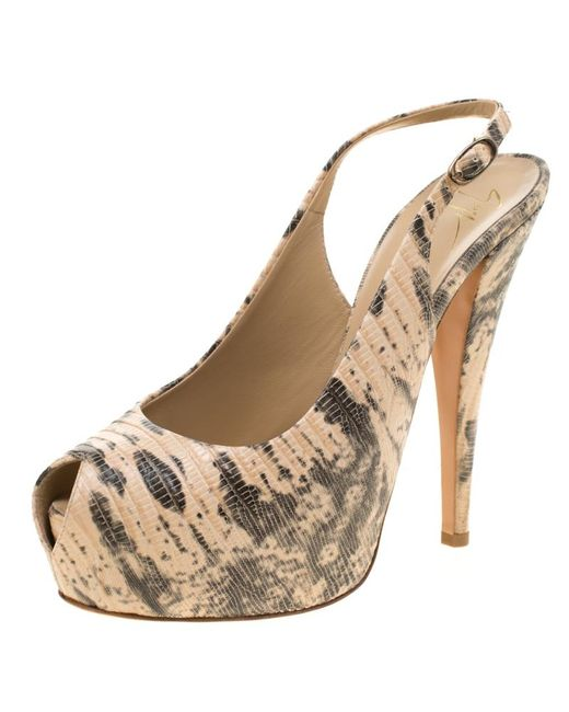 86566774050 Giuseppe Zanotti - Natural Embossed Lizard Leather Monro Peep Toe Platform  Slingback Sandals - Lyst ...