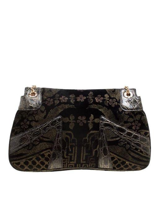 32ee03fd72e0a7 ... Gucci - Black Printed Velvet And Alligator Trim Limited Edition Tom  Ford Dragon Shoulder Bag ...