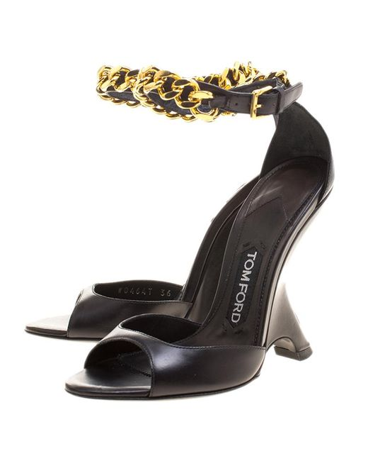 02a82746ff7f ... Tom Ford - Black Leather Chain Embellished Ankle Strap Wedge Sandals  Size 36 - Lyst ...