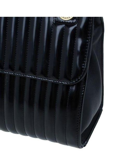 e3887bc555bd ... Chanel - Black Patent Vertical Stripe Maharajah Flap Bag - Lyst ...