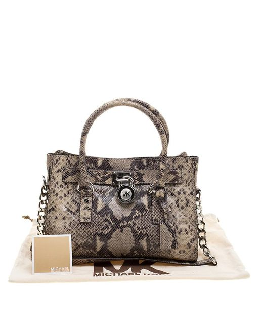 d756527f875 ... Michael Kors - Natural Python Embossed Leather Hamilton Satchel - Lyst  ...