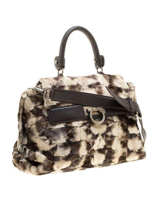 1b958fb889a3 ... Ferragamo -  brown Fur And Leather Medium Sofia Satchel - Lyst ...