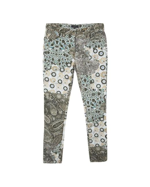 Etro Blue Multicolor Floral And Paisley Print Slim Fit Denim Jeans M