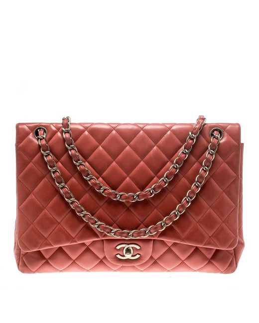 2e216c37fd6b Lyst - Chanel Red Quilted Leather Maxi Classic Single Flap Bag in Red