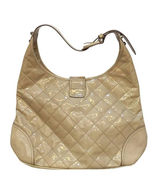 a7317f35573f ... Burberry - Natural Beige Quilted Patent Leather Brook Hobo - Lyst ...