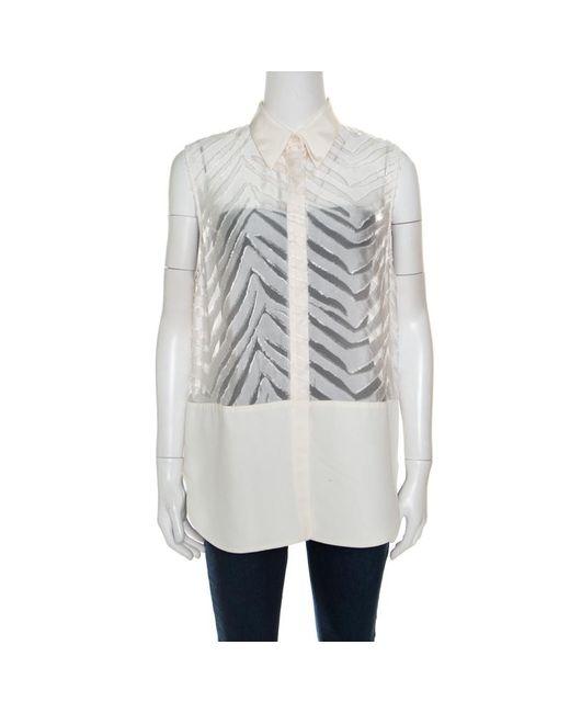 3.1 Phillip Lim - White Off Zig Zag Fil Coupe Sleeveless Shirt M - Lyst