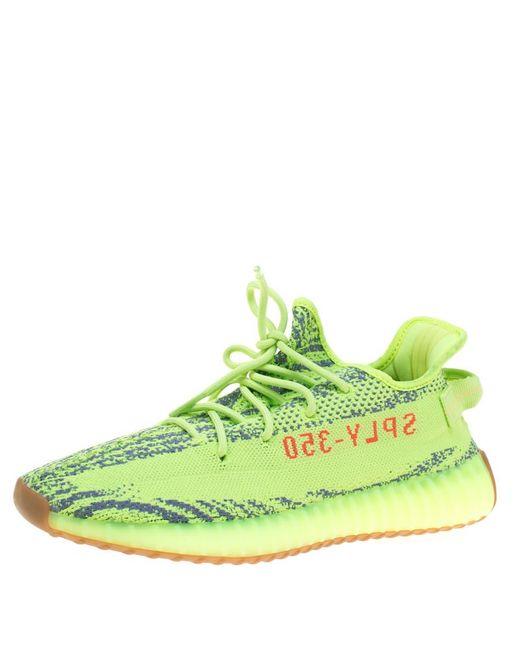 c0468621f2685 Yeezy - Gray X Adidas Semi Frozen Yellow Cotton Knit Boost 350 V2 Zebra  Sneakers Size ...