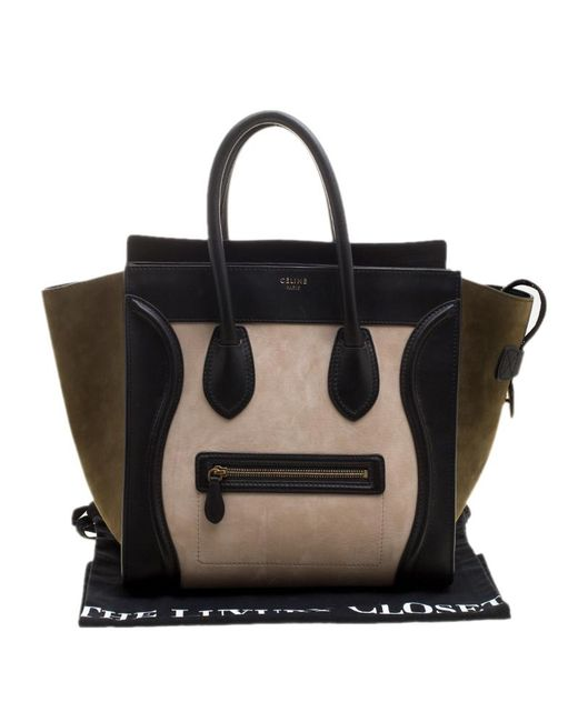 b960d4d47480 ... Céline - Black Tri Color Leather And Suede Mini Luggage Tote - Lyst ...