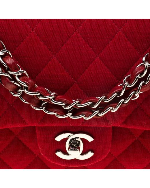 a02b71a881bb ... Chanel - Red Quilted Jersey Medium Classic Double Flap Bag - Lyst ...