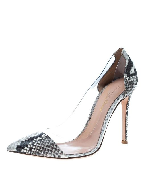Gianvito Rossi - Gray Two Tone Python Leather And Pvc Plexi Pumps Size 37.5 - Lyst