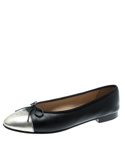 9d1ce986b9cfe Chanel - Black Leather With Metallic Silver Cc Cap Toe Bow Ballet Flats  Size 40 ...