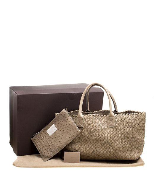 ... Bottega Veneta - Green Stone Ostrich Intrecciato Leather Medium Limited  Edition Cabat Tote - Lyst ... e6a9f6e799bc8