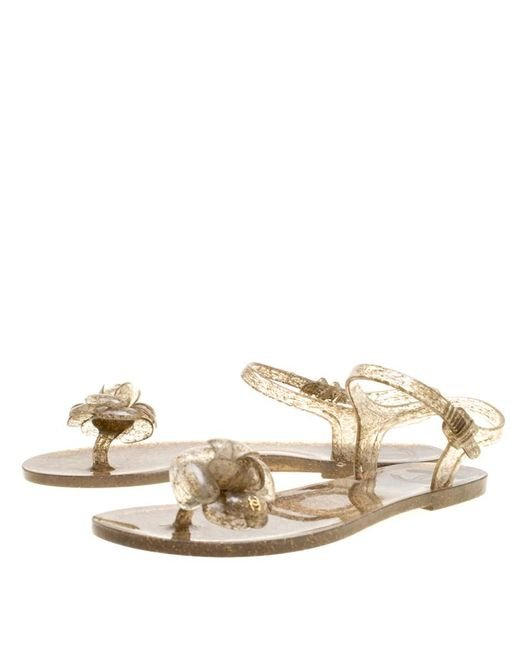 5d170bf67877f Chanel Natural Jelly Camellia Flower Sandals Lyst