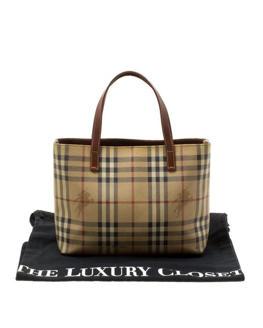 ... Burberry - Brown Haymarket Check Coated Canvas Mini Tote - Lyst ... 1b4d4ecdf07ee