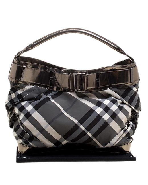... Burberry - Gray Metallic Beat Check Nylon And Leather Shoulder Bag -  Lyst ... 4479447e87