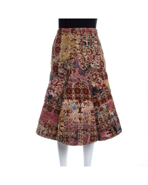 Roberto Cavalli - Multicolor Patchwork Embroidered And Quilted Flared Skirt M - Lyst