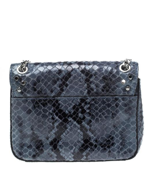 e1f400ac1a38 ... Michael Kors - Blue Aquamarine Python Embossed Leather Sloan Studded Shoulder  Bag - Lyst ...