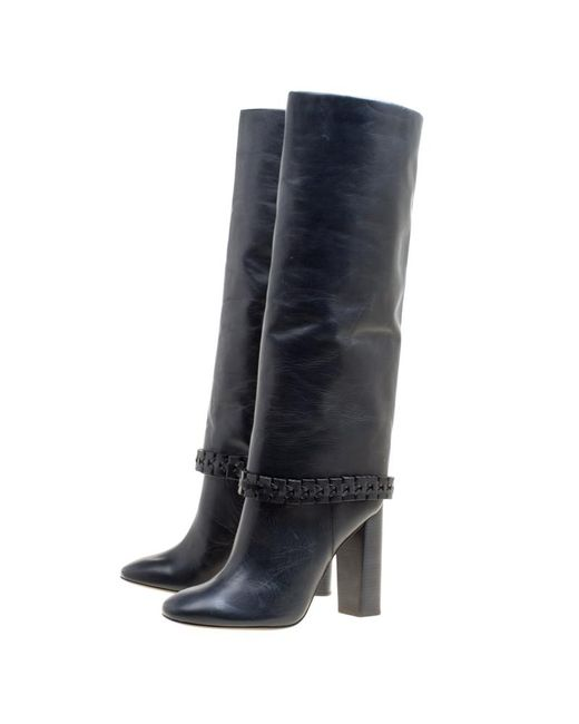 33869e549 ... Tory Burch - Dark Blue Leather Sarava Braid Detail Knee Boots Size 40 -  Lyst ...