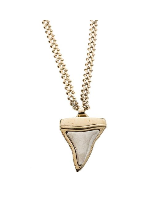 Givenchy - Metallic Small Shark Tooth Pendant Tone Two Tier Chain Necklace - Lyst