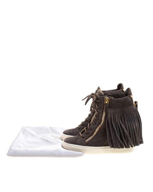 d5d346a5dfa0 ... Giuseppe Zanotti - Gray Suede Lorenz Fringe Wedge Sneakers - Lyst