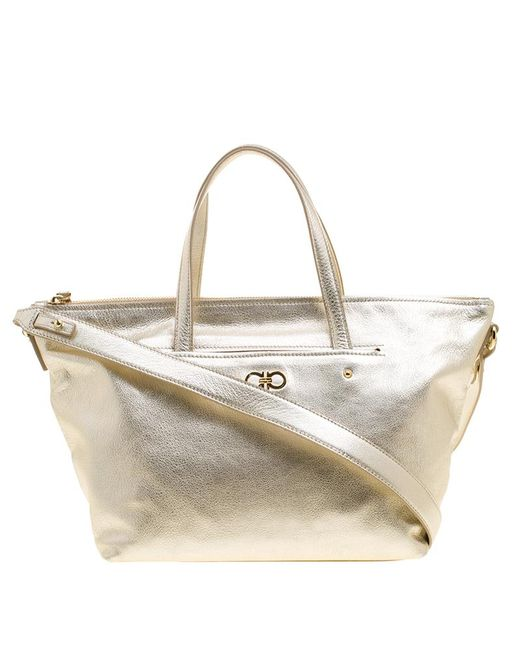 2e5239d700ca Lyst - Ferragamo Metallic Leather Small Mika Tote in Metallic