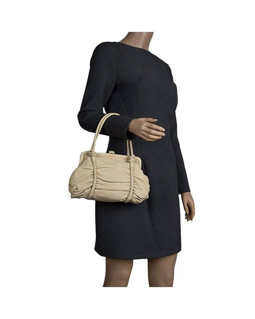 c1d7b9af6b ... Bottega Veneta - Natural Leather Ruched Bag - Lyst ...