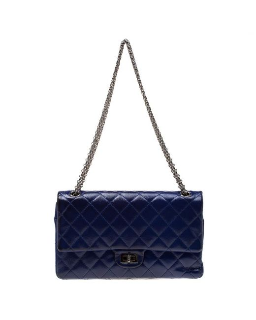 4d3ea341a96f03 Chanel - Purple Quilted Patent Leather Reissue 2.55 Classic 226 Flap Bag -  Lyst ...