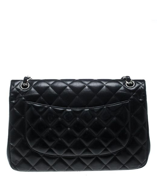 0d9562ba87db ... Chanel - Black Quilted Leather Jumbo Classic Double Flap Bag - Lyst ...