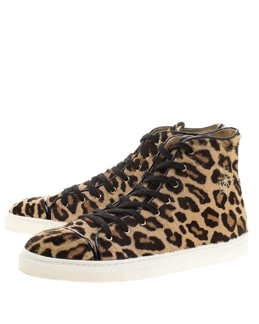 e8e37aacc227 ... Charlotte Olympia - Natural Beige Leopard Print Pony Hair Purrfect High  Top Sneakers Size 39.5 ...