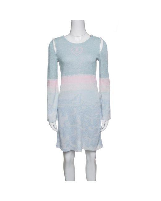 Chanel - Blue Pastel Lurex Knit Cutout Armhole Detail Long Sleeve Tunic M - Lyst
