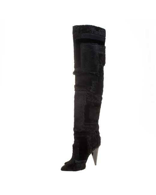 Tom Ford - Black Geometric Patchwork Fur And Suede Over The Knee Boots - Lyst