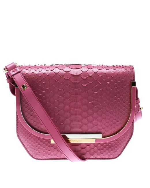 1fe6c4b78801 Ferragamo - Pink Python Shoulder Bag - Lyst ...