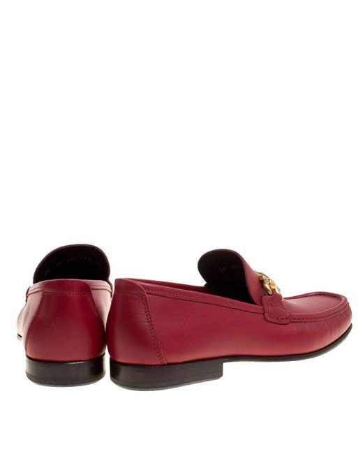 d08d19842fc ... Ferragamo - Red Leather Giordano Moccassins Size 44.5 for Men - Lyst ...
