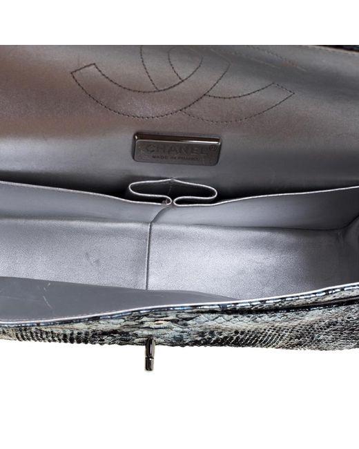 ... Chanel - Metallic Aquamarine Black Python Jumbo Classic Double Flap Bag  - Lyst ... 06226625b9081