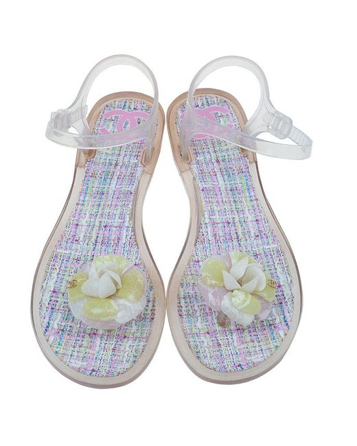 44b3ef9a9f558 Chanel Yellow Jelly Camellia Flower Sandals Lyst