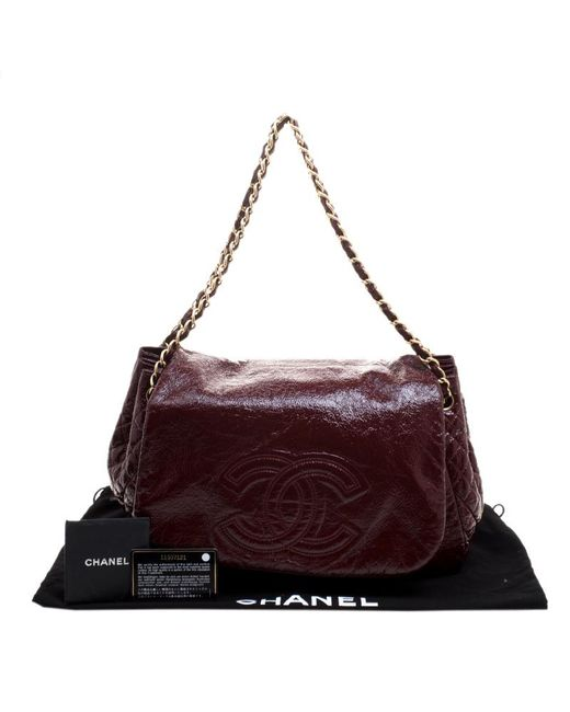 eccd8ea6701c ... Chanel - Purple Quilted Detail Patent Leather Timeless Accordion Flap  Bag - Lyst ...